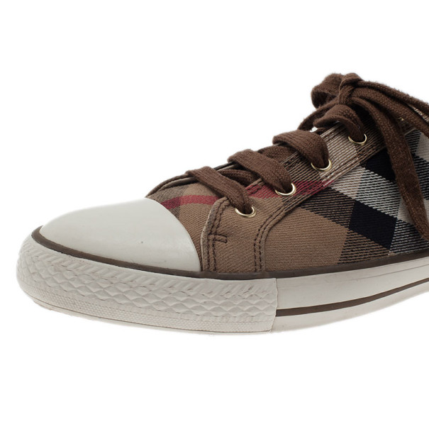 Burberry Novacheck Canvas and Leather Sneakers Size 42