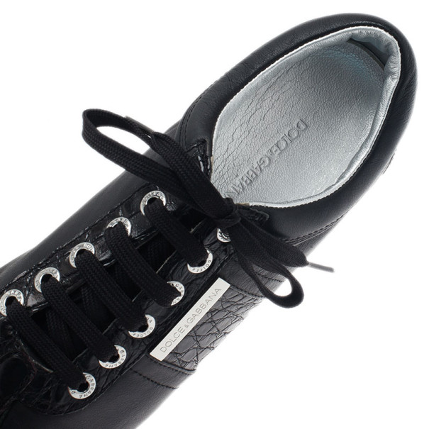 Dolce and Gabbana Black Leather Logo Plaque Sneakers Size 42.5