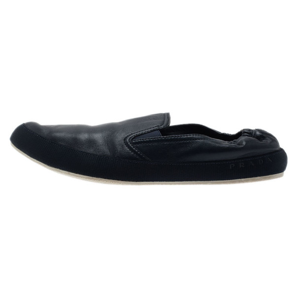 Prada Sport Navy Leather Loafers Size 43