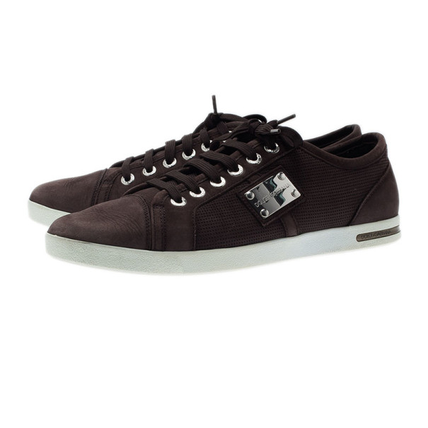 Dolce and Gabbana Brown Leather Logo Plaque Sneakers Size 42