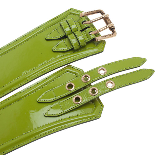 Burberry Prorsum Green Patent Leather Corset Belt 80CM