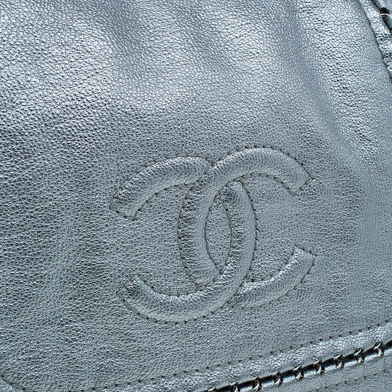 Chanel Silver Leather Jumbo Luxe Ligne Flap Bag