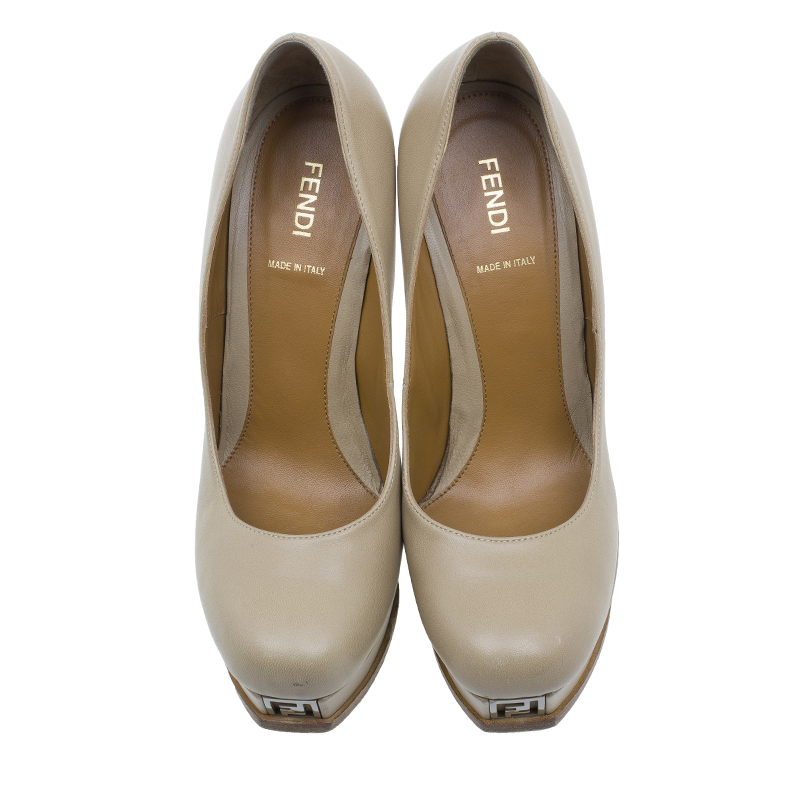 Fendi Beige Leather Fendista Platform Pumps Size 38.5