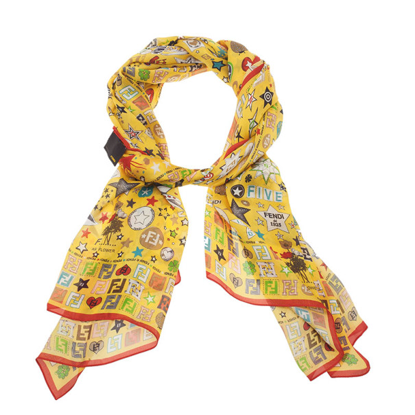 Fendi Yellow Star Print Silk Stole