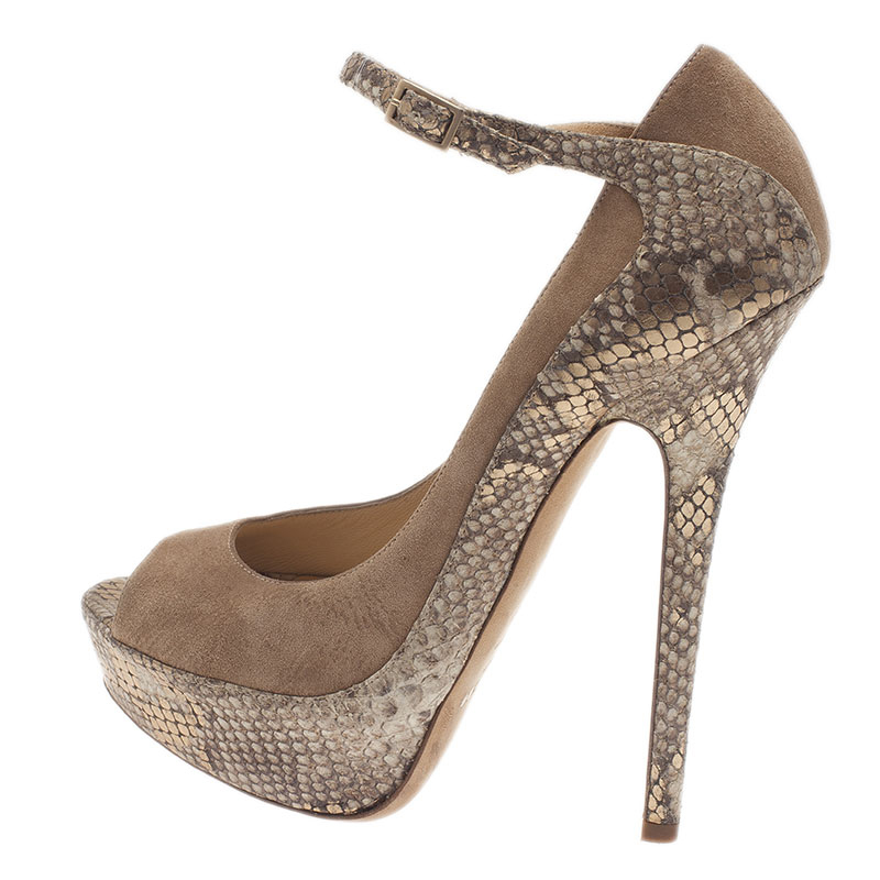 Jimmy Choo Beige Python and Suede Tami Peep Toe Ankle Strap Pumps Size 39.5