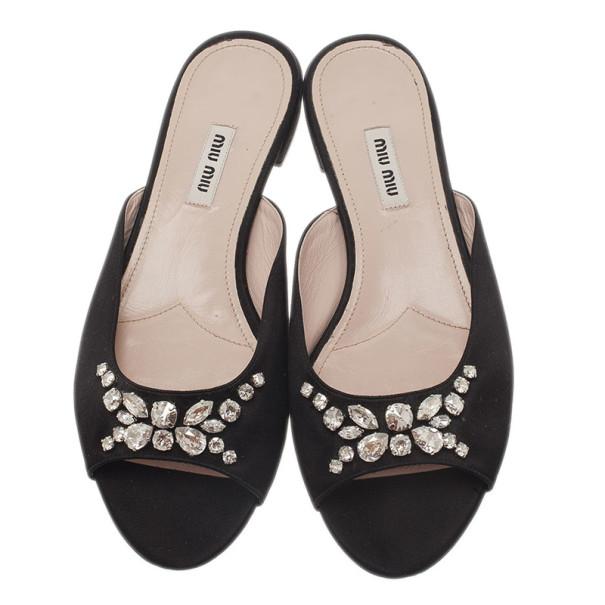 Miu Miu Black Jeweled Satin Flat Slides Size 39.5