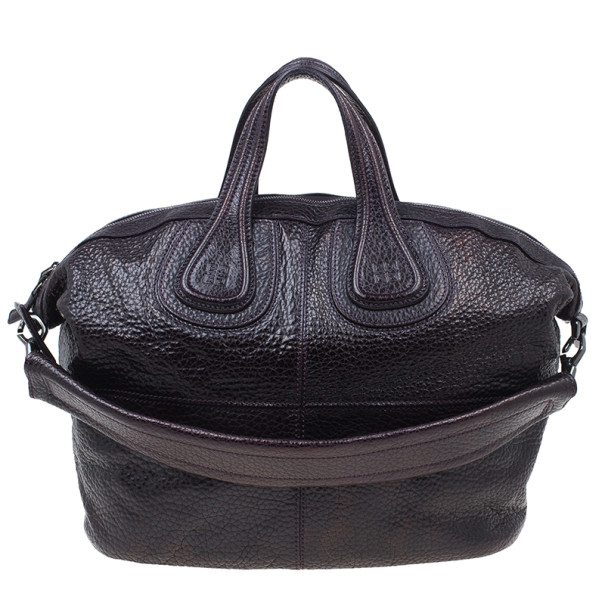 Givenchy Purple Grain Leather Medium Nightingale Shoulder Bag