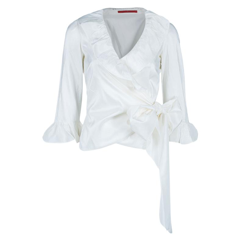 CH Carolina Herrera White Ruffle Detail Silk Top S