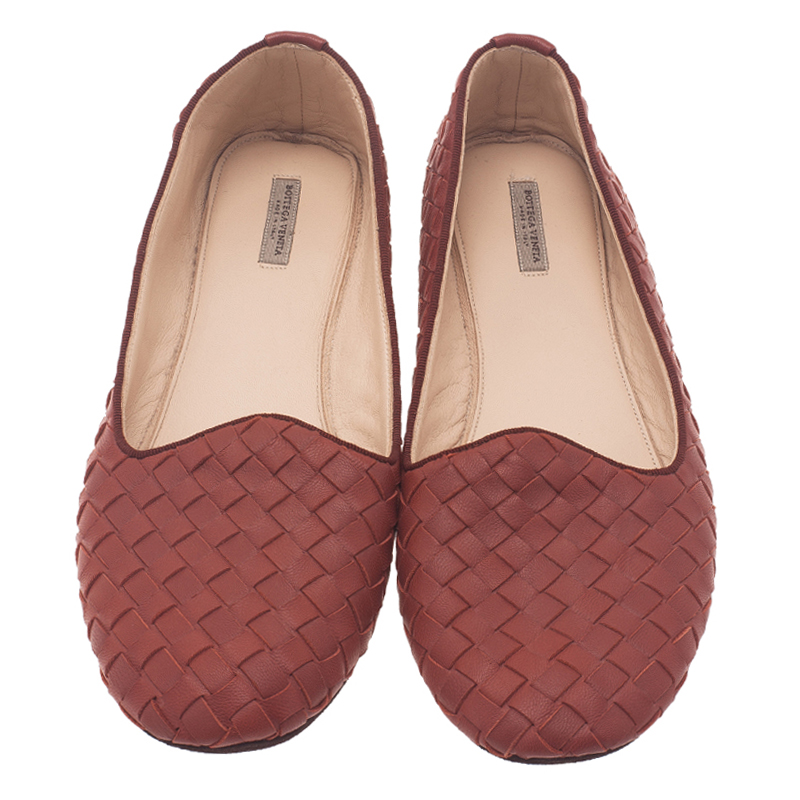 Bottega Veneta Brown Intrecciato Leather Carpet Slippers Size 38.5
