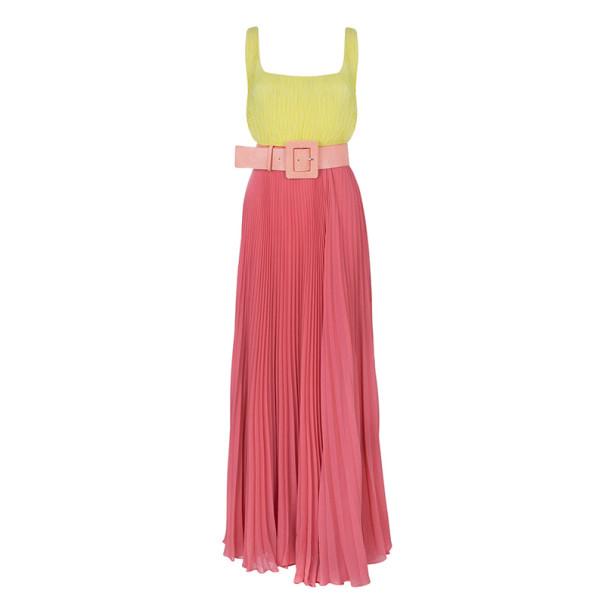 Alice + Olivia Leila Belted Colorblock Crepe Maxi Dress S
