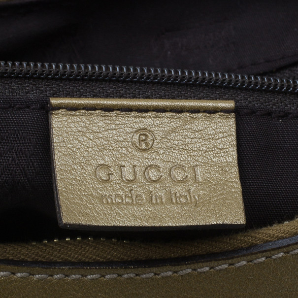 Gucci Gold Leather Guccissima D Gold Small Hobo