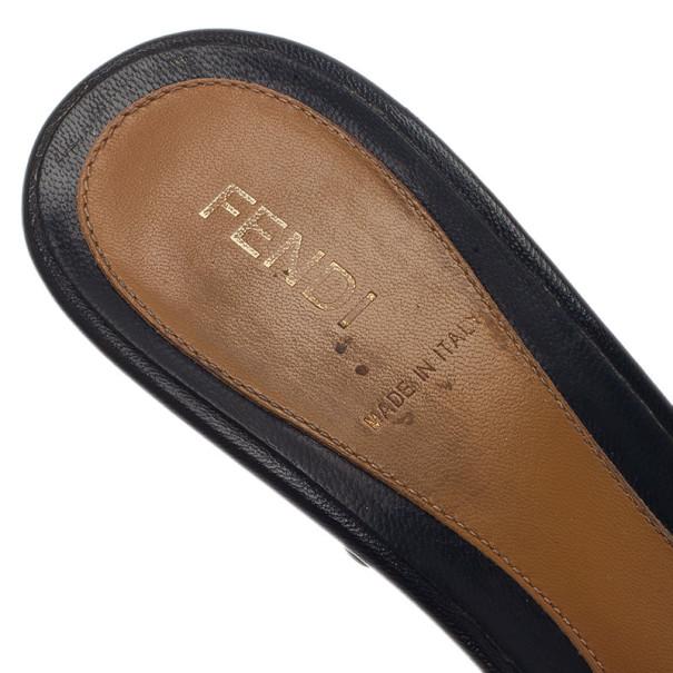 Fendi Zucca Canvas Pride and Prejudice Bow Slides Size 38.5