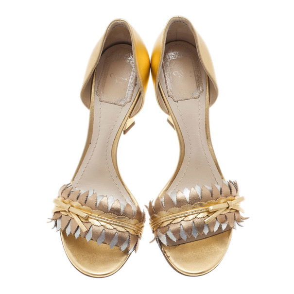 Dior Metallic Leather D'orsay Pumps Size 37.5