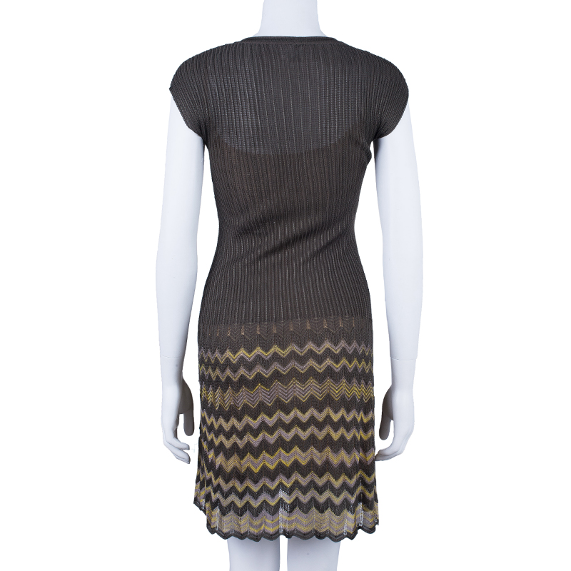 M Missoni Knit Multicolor Ruched Dress S