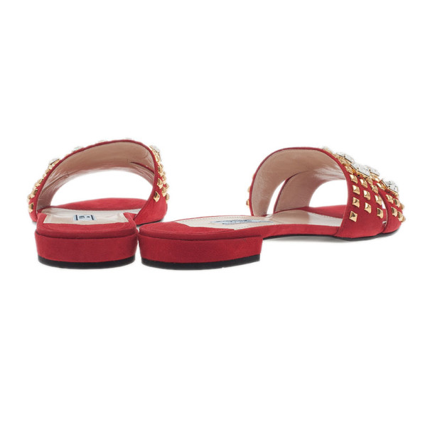 Prada Red Suede Jeweled Flat Slides Size 38