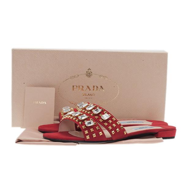 Prada Red Suede Jeweled Flat Slides Size 38