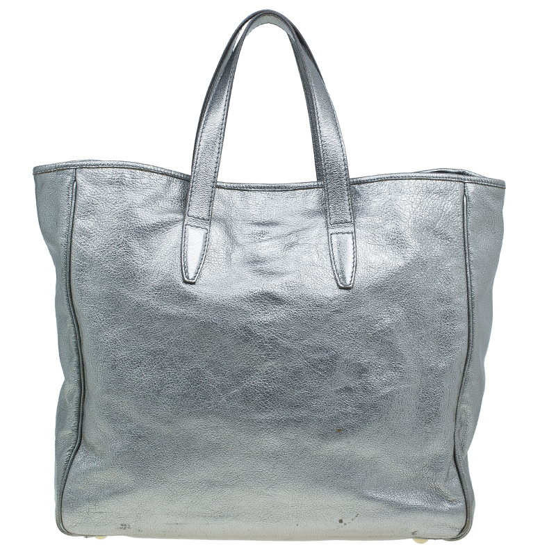 Saint Laurent Paris Metallic Silver Leather Y-Mail Shopper Tote