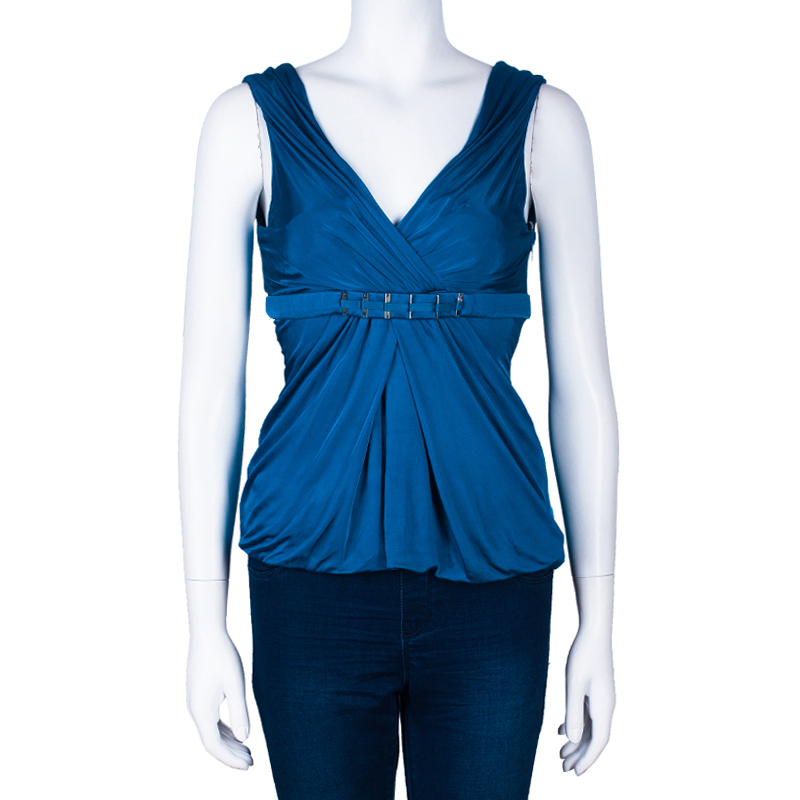 Versace Blue Sleeveless Stretch Top M