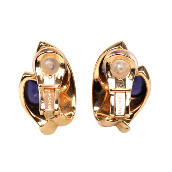Bvlgari Vintage Amethyst 18K Yellow Gold Earrings