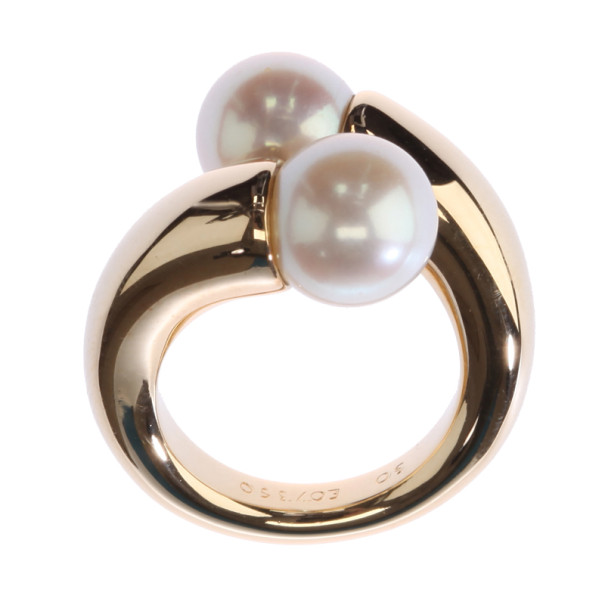 Cartier Vintage Toi et Moi Pearl 18K Yellow Gold Ring Size 50