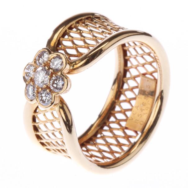 Van Cleef & Arpels Fleurette 18K Yellow Gold Diamond Ring Size 54