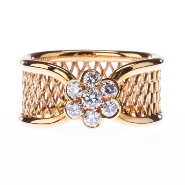 Van Cleef & Arpels Fleurette 18K Yellow Gold Diamond Ring Size 54