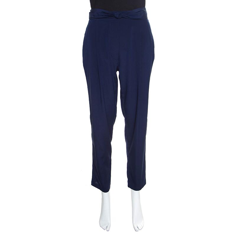 Купить со скидкой 3.1 Phillip Lim Navy Blue Elasticized Waist Silk Pants M