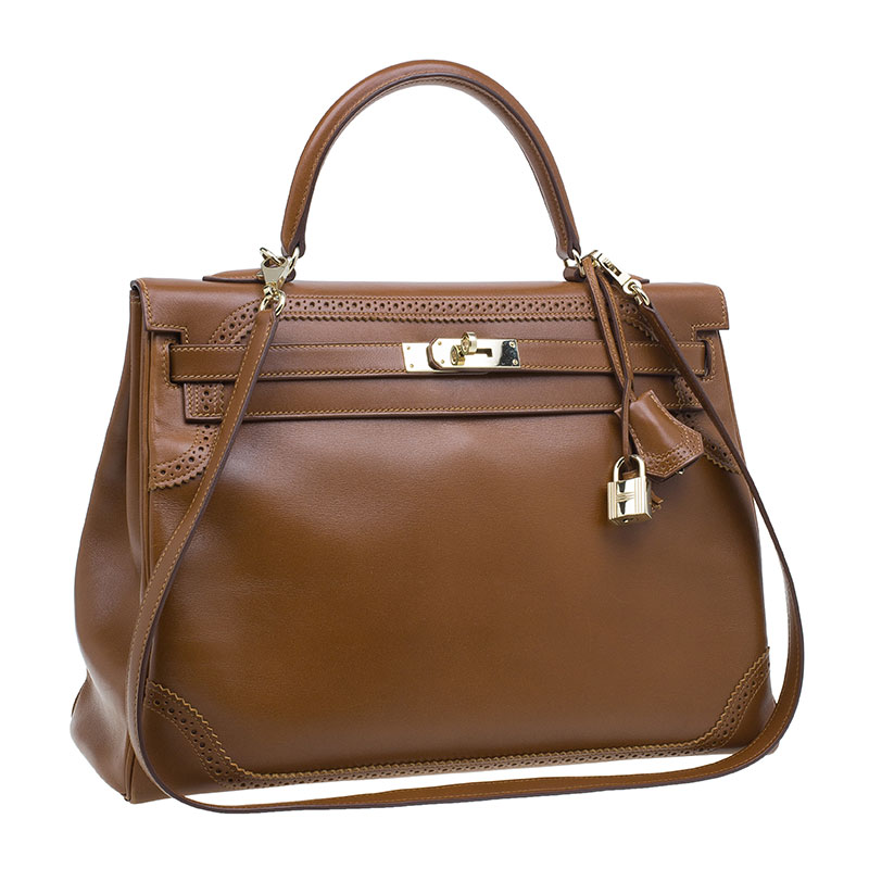 Hermes Fauve Tadelakt Leather Kelly Ghillies Bag 35