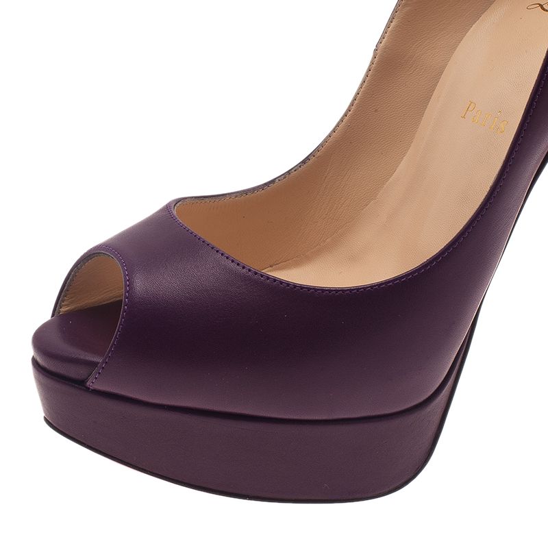 Christian Louboutin Purple Leather Lady Peep Platform Pumps Size 40