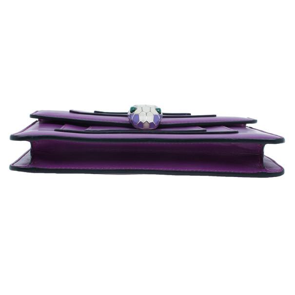 Bvlgari Purple Calfskin Serpenti Small Flap Bag