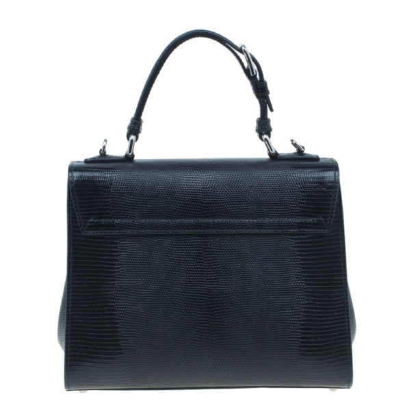 Dolce and Gabbana Black Iguana Leather Monica Tote
