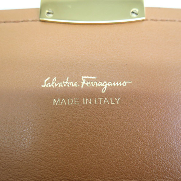 Salvatore Ferragamo Brown Leather Checkbook Wallet