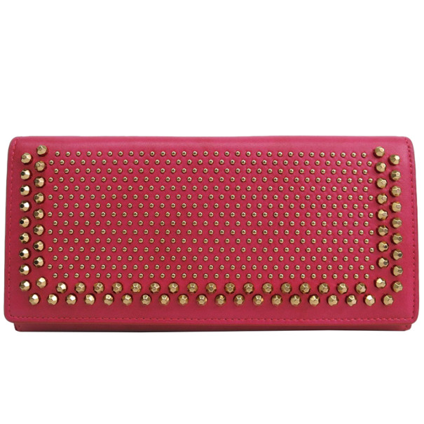 MCM Pink Studs Leather Trifold Contential Wallet
