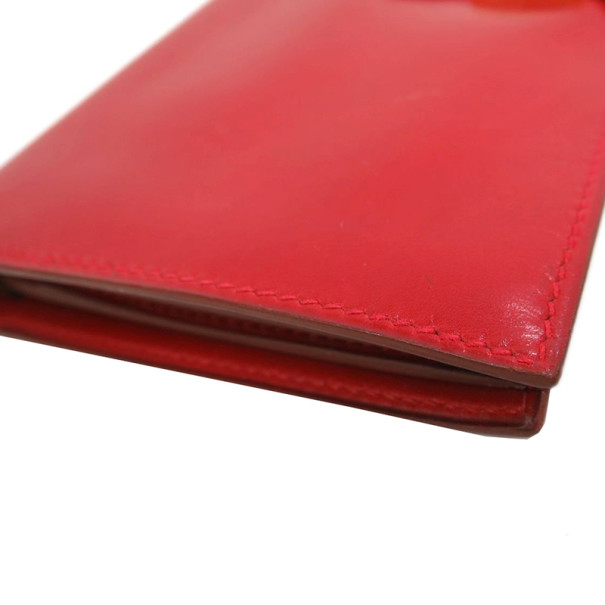 Hermes Red Box Calf Leather Herakles Long Wallet