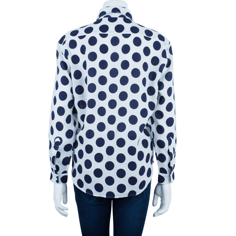 Burberry Prorsum Navy Large Polka Dot Shirt S