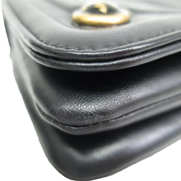 Chanel Black Calfskin Logo Chain Shoulder Bag