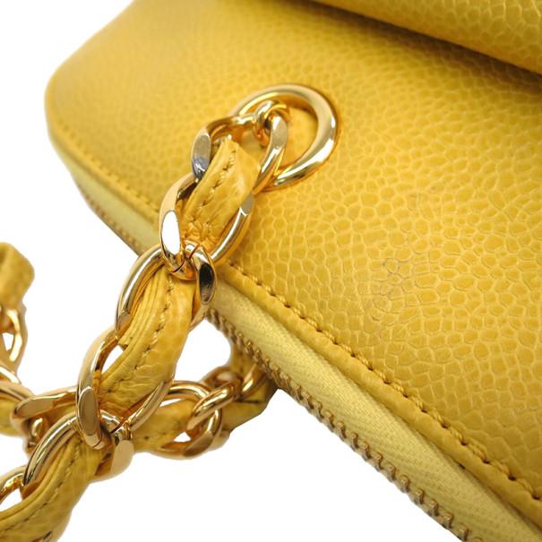 Chanel Yellow Caviar Shoulder Bag