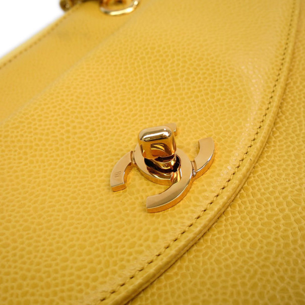 Chanel Yellow Caviar Shoulder Bag