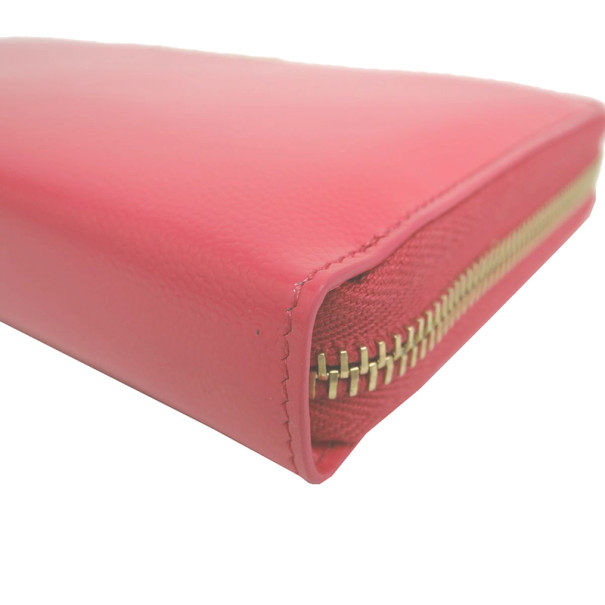 Saint Laurent Paris Pink Enamel Zip Around Contential Wallet