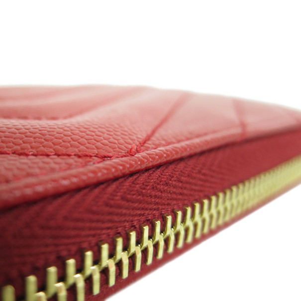 Saint Laurent Red Leather Chevron Zip Around Contential Wallet