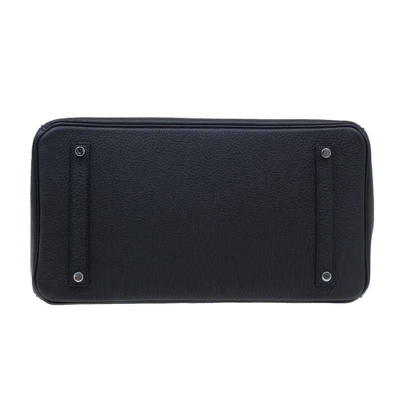 Hermes Noir Togo Calfskin Palladium Hardware Birkin 35