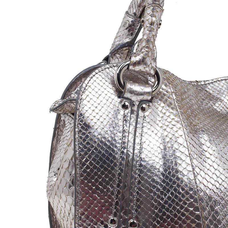Celine Metallic Silver Leather Medium Bittersweet Hobo