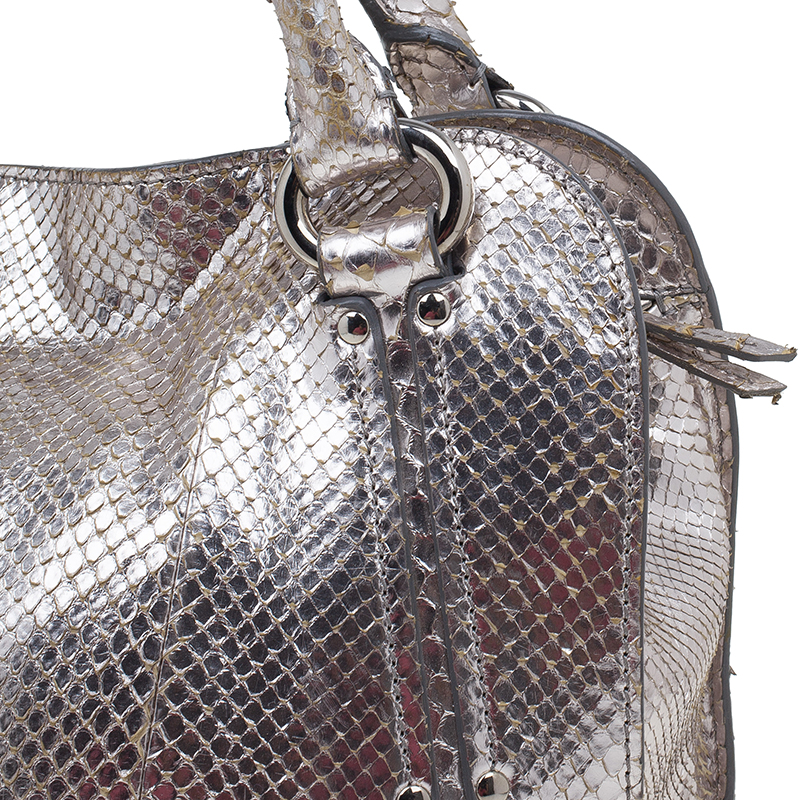 Celine Metallic Silver Leather Medium Bittersweet Hobo