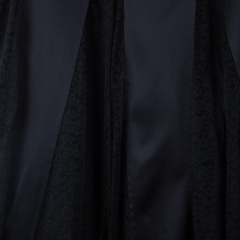 Michael Kors Black Lace Godet Maxi Skirt M