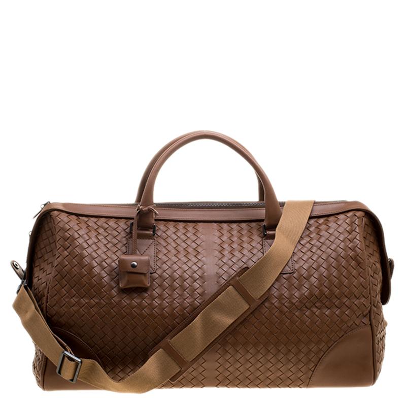 Купить со скидкой Bottega Veneta Brown Intrecciato Leather Medium Duffel Bag