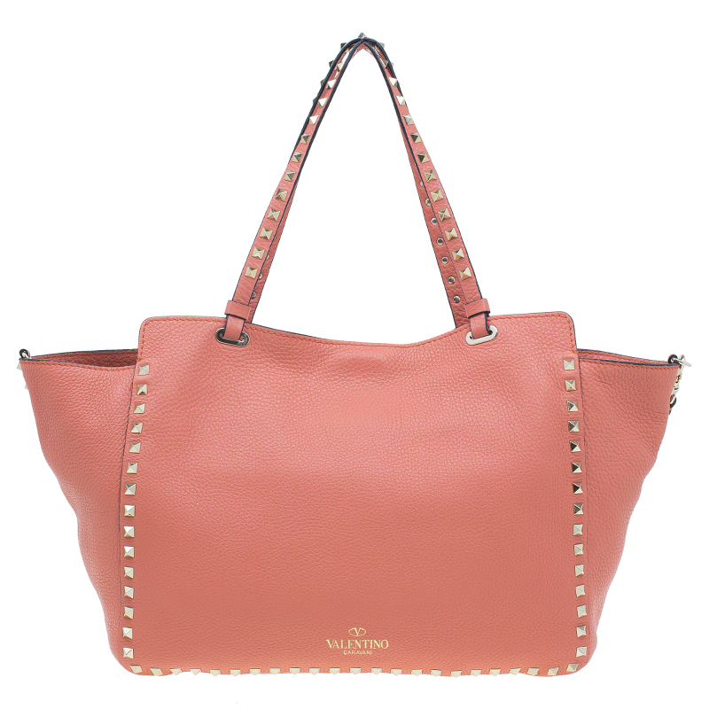 Valentino Tangerine Leather Medium Rockstud Trapeze Tote Bag