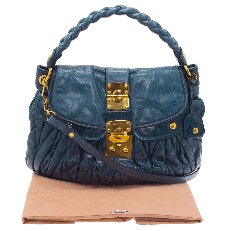 Miu Miu Denim Blue Leather Matelasse Hobo Bag