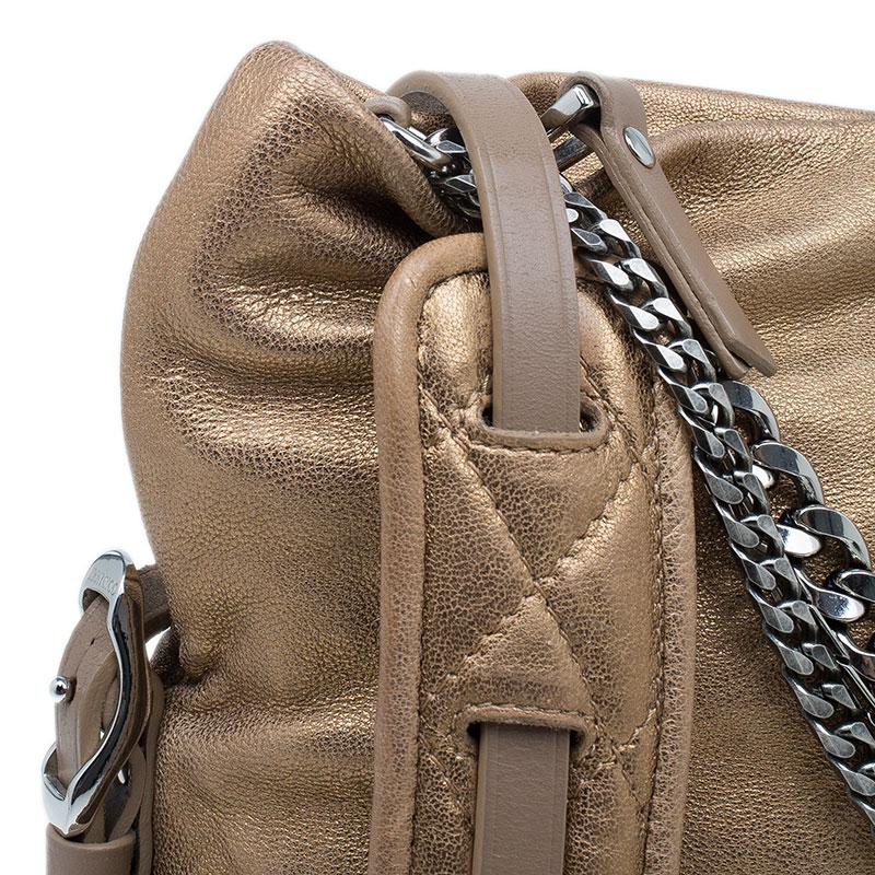 Jimmy Choo Bronze Leather Small Biker Saddle Chain Crossbody Bag