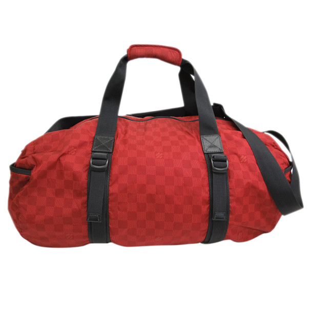 Louis Vuitton Red Damier Aventure Keepall 55