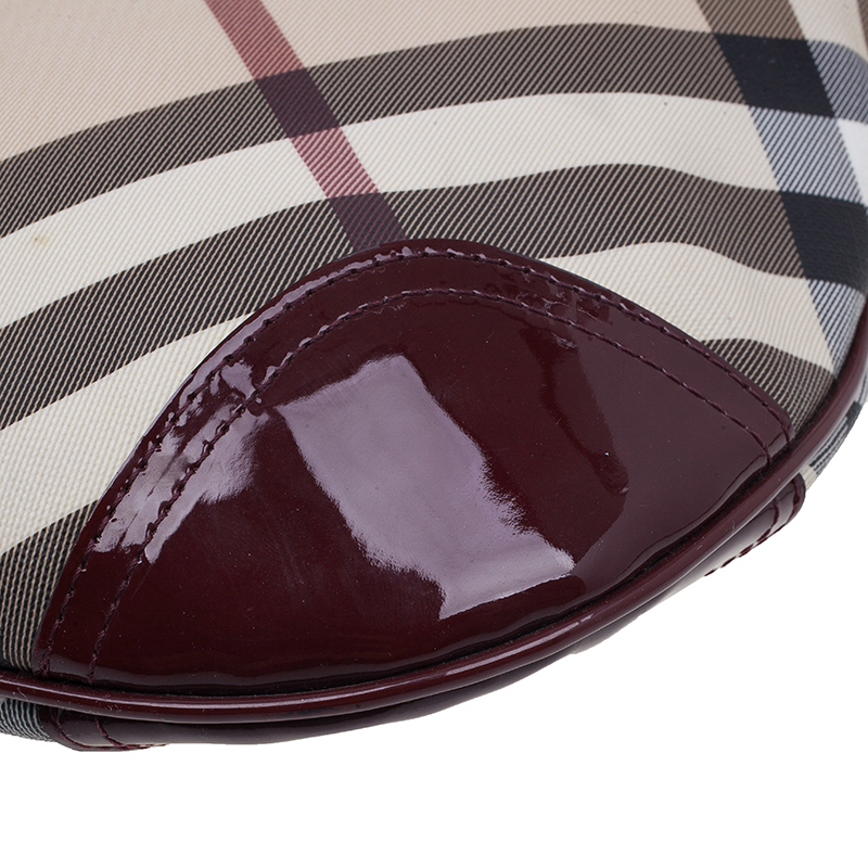 Burberry Burgundy Patent Leather Trim Nova Check Crossbody SBag